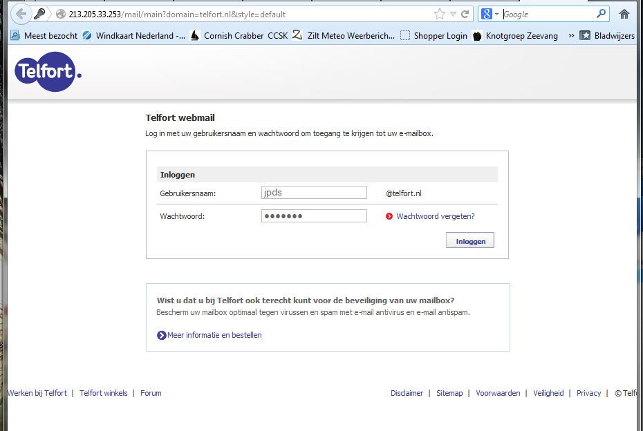 Inloggen webmail  Telfort